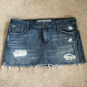 Abercrombie & Fitch Distressed Jean Mini Skirt